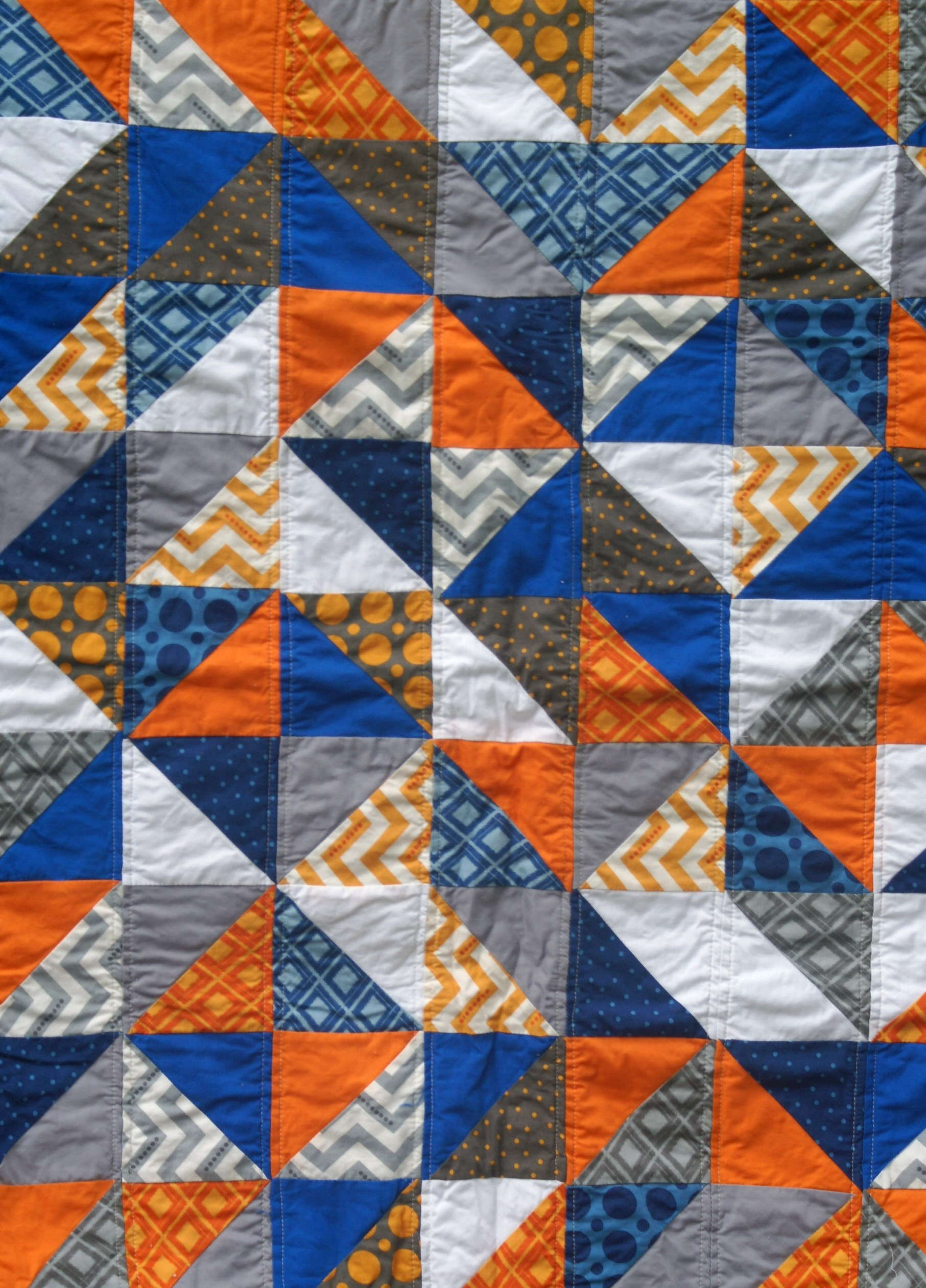 Orange Blue White And Gray Triangle Quilt Quiltytherapy