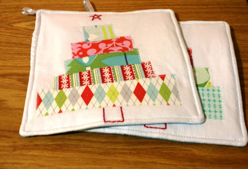 scrap christmas potholder