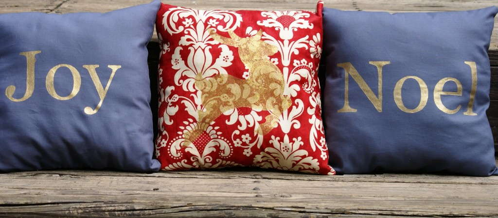 screenprinted holiday pillows