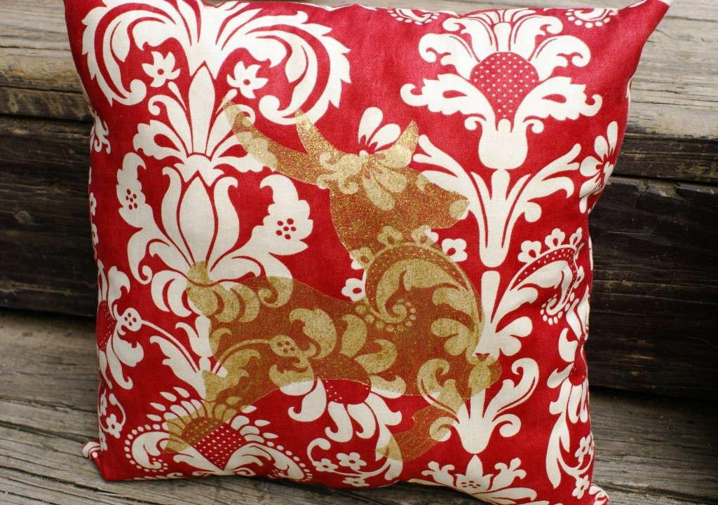 freezer paper painted pillow