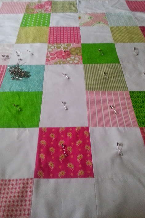 pink and green scrappy baby quilt 3