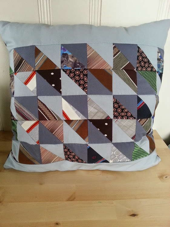 upcycled pillow, tie pillow, repurposed tie, recycling project