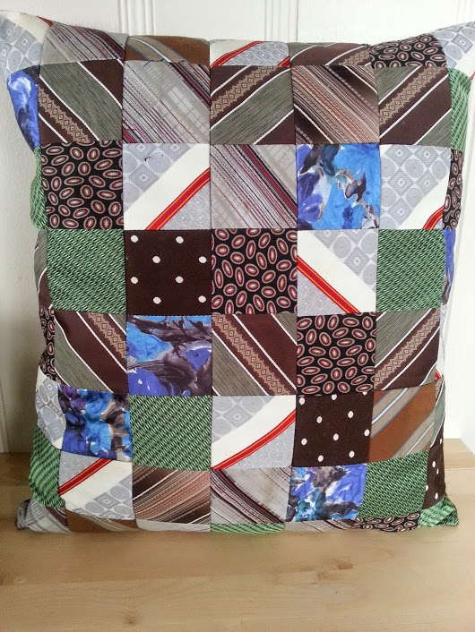 recycled men's tie pillow