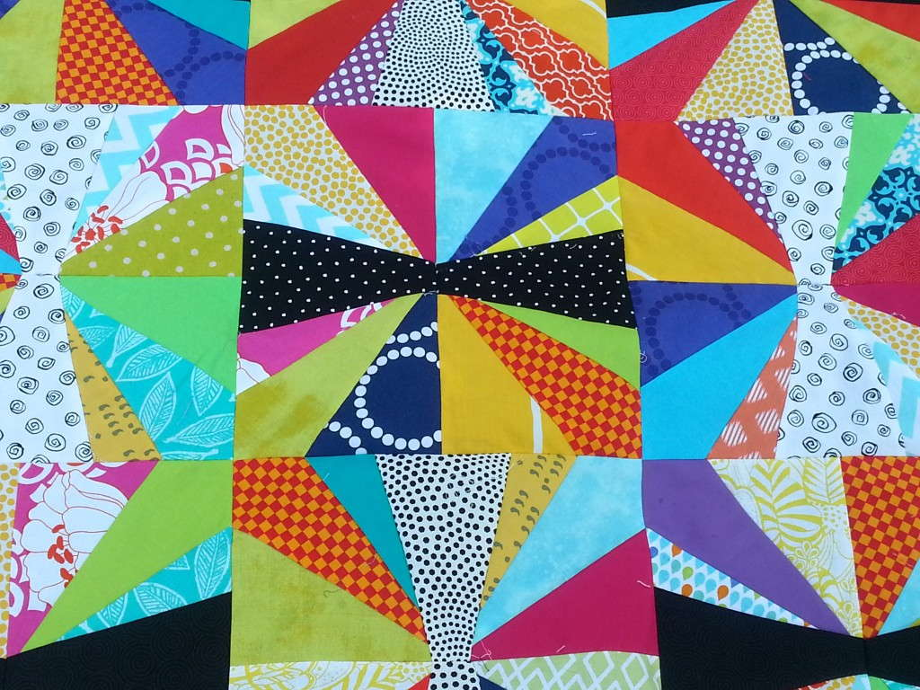 black, white, and brights baby jacks quilt