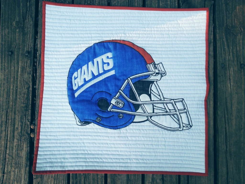 NY Giants quilted potholder tutorial