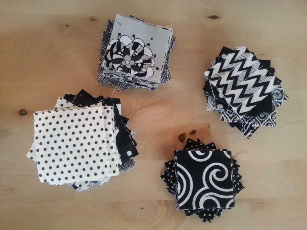 black and white mini charm scraps