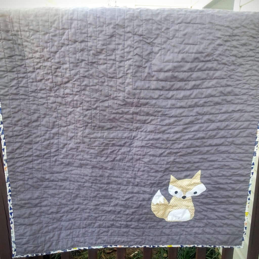 simple fox baby quilt