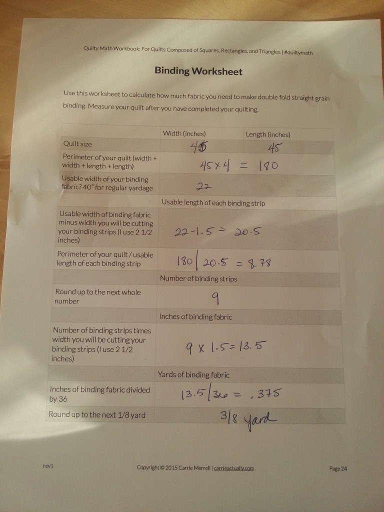 binding worksheet