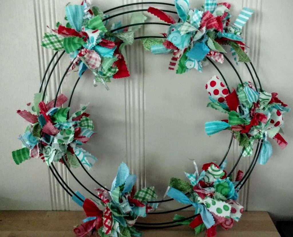 filling in wreath