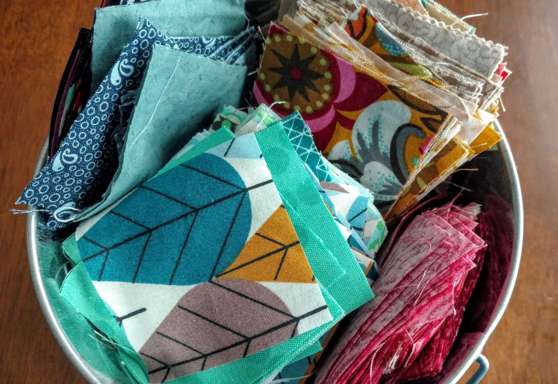 love of scrap quilts, tub of scraps