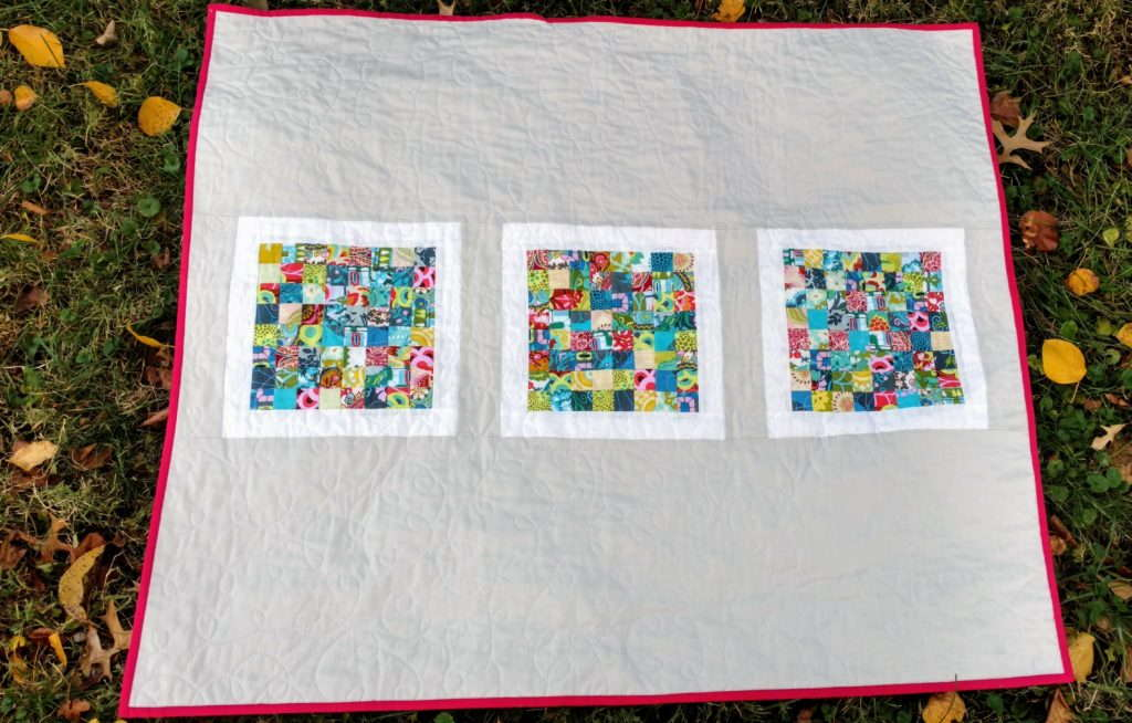 amy butler cameo tiny scrap quilt by quiltytherapy tiny scrap quilt, scrap quilt, modern scrap quilt, amy butler cameo fabrics, stash quilt