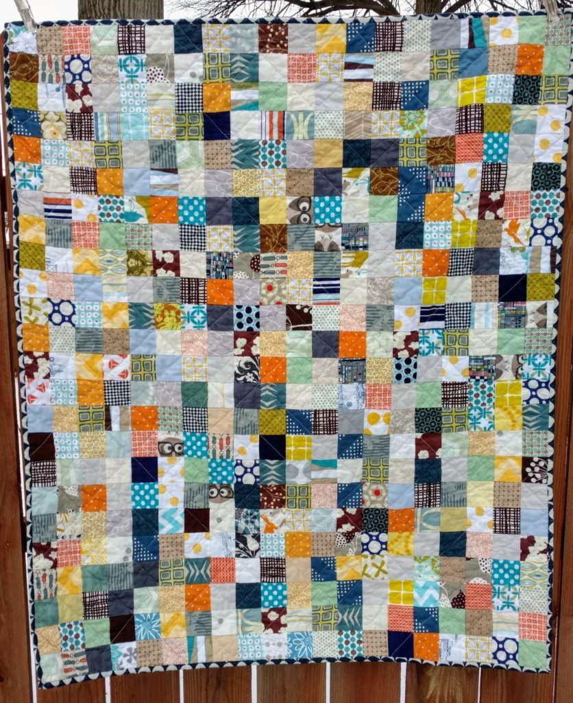 scrappy postage stamp quilt, postage stamp quilt, baby boy quilt, scrap quilt, sewmystash2018, working off my stash