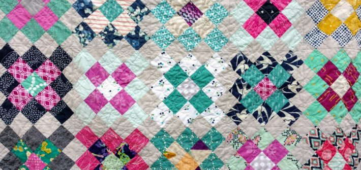 Granny square quilt, modern baby quilt, modern design, modern nursery decor, scrap quilt, jewel tone colors