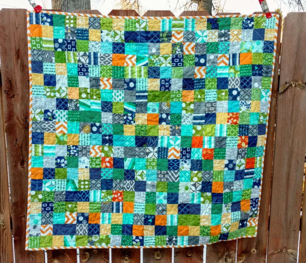 V&CO scrappy postage stamp quilt, postage stamp quilt, baby quilt by quiltytherapy