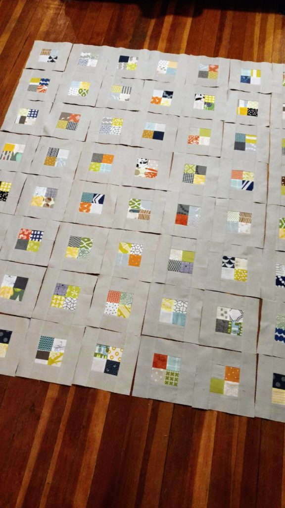 postage stamp checkerboard quilt top, quiltytherapy
