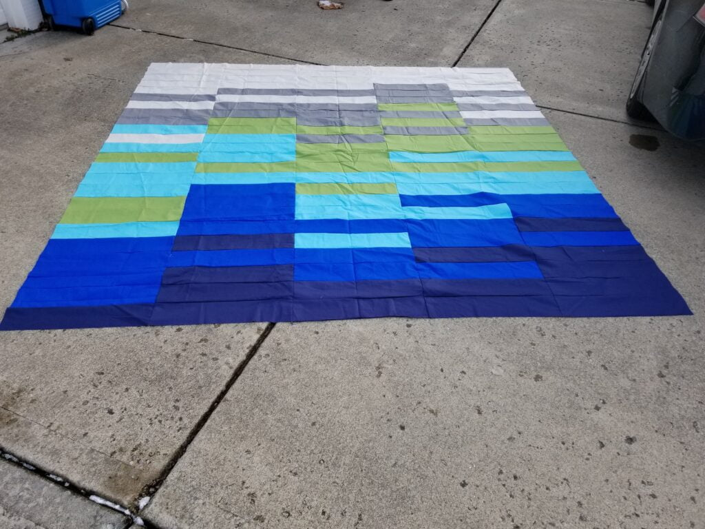 quilt top on the driveway
